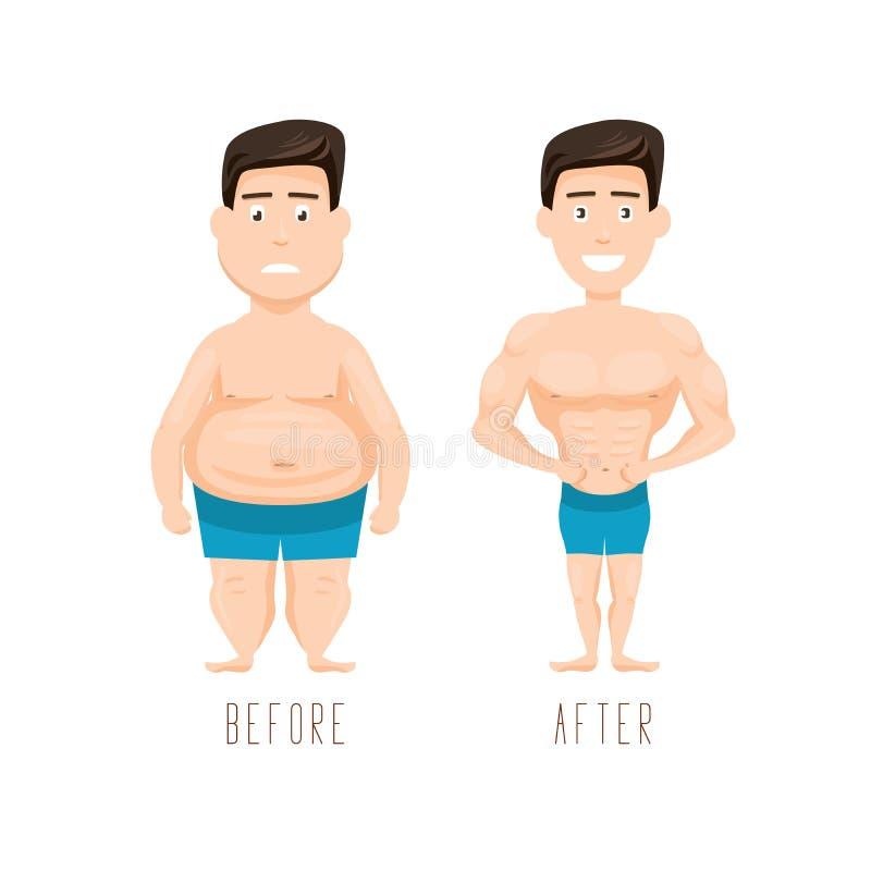 Vette en slanke mens, before and after gewichtsverlies vector illustratie