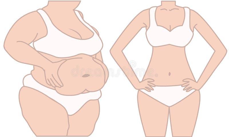 Vette en slanke vrouw vector illustratie