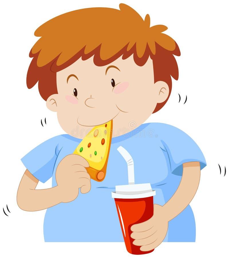 Vette jongen die pizza eten royalty-vrije illustratie