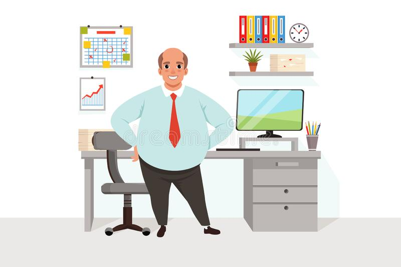 Vette kale mens in bureau Arbeider in formele kleding Werkplaats met lijst, stoel, computer, grafiek, grafiek, plank met vector illustratie