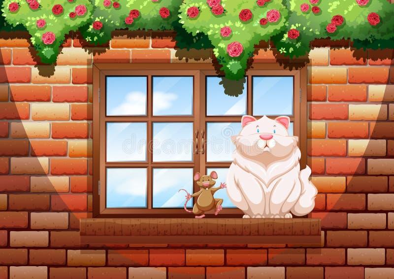 Vette kat en weinig muis stock illustratie