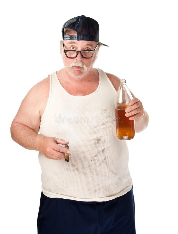 Vette mens met bier stock afbeelding