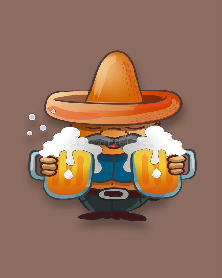 Vette mens met een hoed en kruiken bier vector illustratie