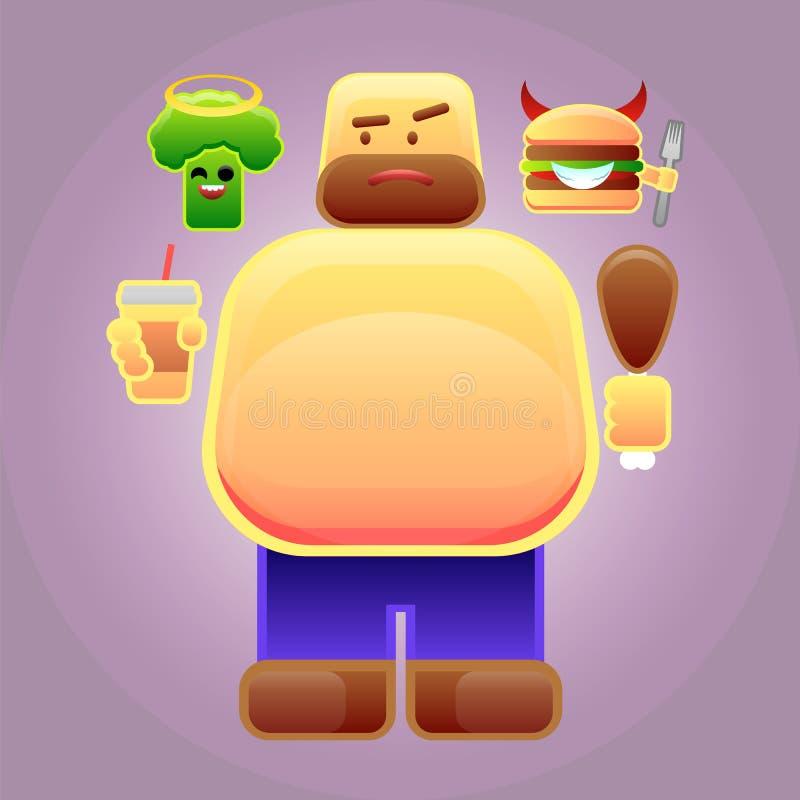 Vette mens met hamburger en broccoli op zijn schouders, vectorbeeld royalty-vrije illustratie
