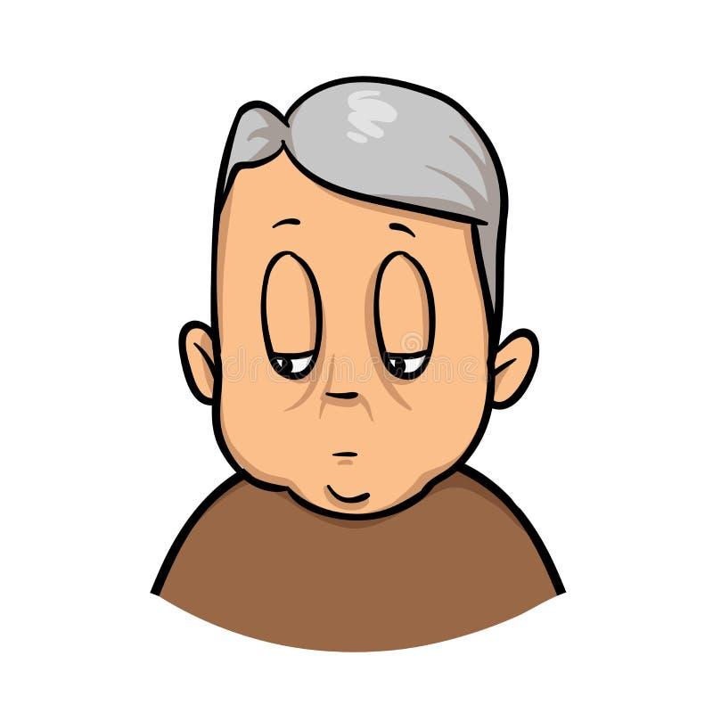 Vette oude mens Het pictogram van het beeldverhaalontwerp Vlakke vectorillustratie Geïsoleerdj op witte achtergrond vector illustratie