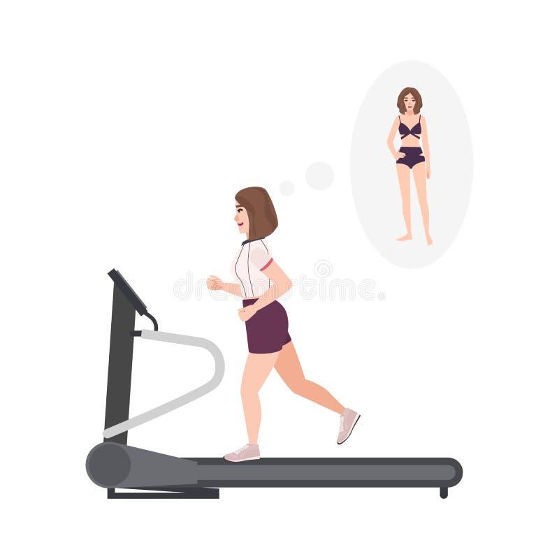 Vette vrouw die geschiktheidskleding dragen die op tredmolen lopen Vrouwelijk beeldverhaalkarakter die cardio opleiding op oefeni stock illustratie