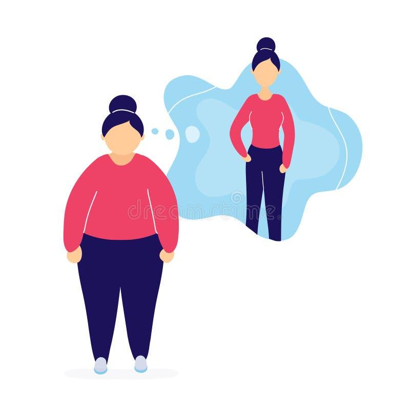 Vette vrouw die over gewichtsverlies droomt royalty-vrije illustratie
