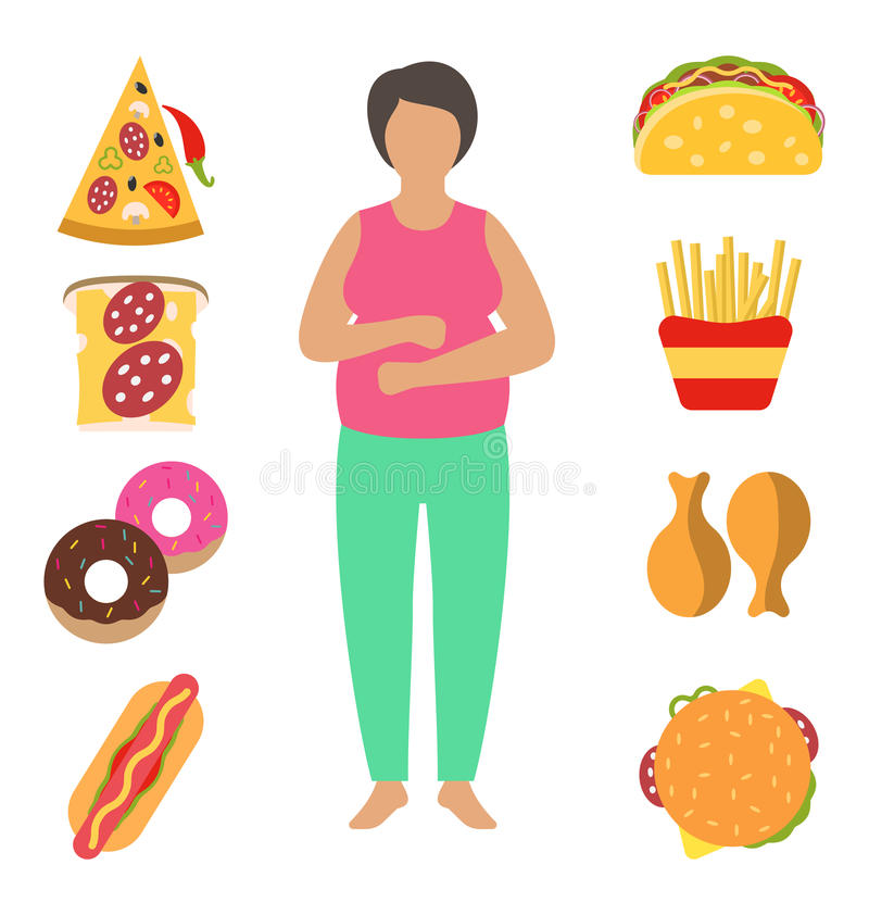 Vette vrouw Probleem met Bovenmatig Gewicht Toe te schrijven aan Verkeerd Dieet Snel Voedselzwaarlijvigheid royalty-vrije illustratie