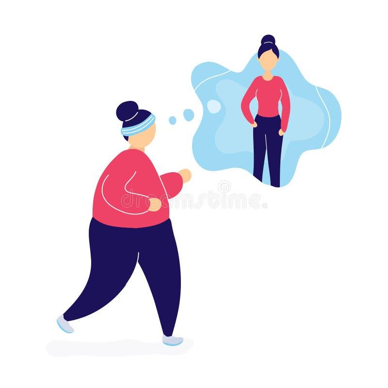 Vette vrouwenjogging en het dromen over gewichtsverlies vector illustratie