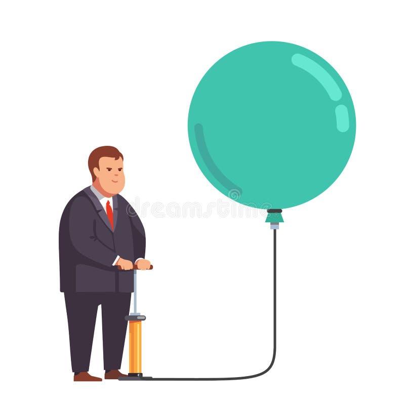 Vette zakenman die ballon met handpomp opblazen vector illustratie