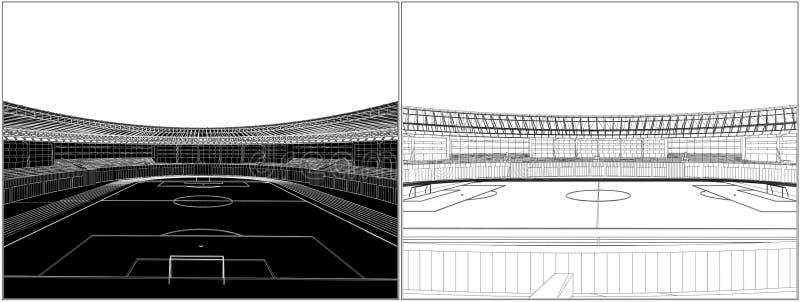 Vettore 08 dello stadio di calcio di gioco del calcio illustrazione di stock