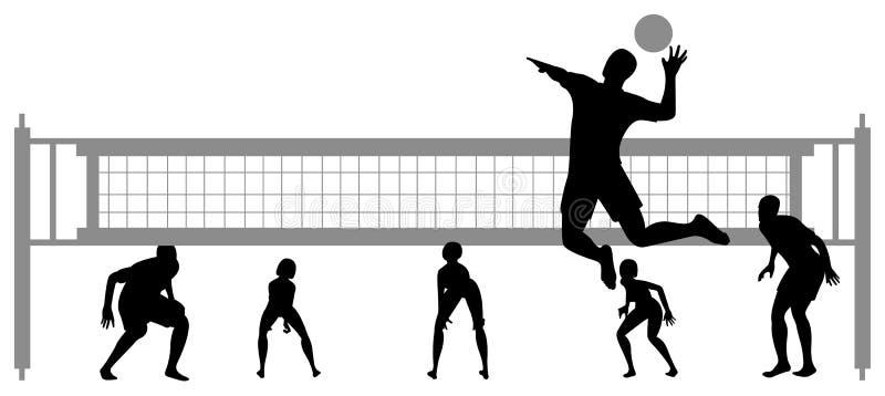 Vettore 2 della siluetta del gioco di pallavolo illustrazione di stock