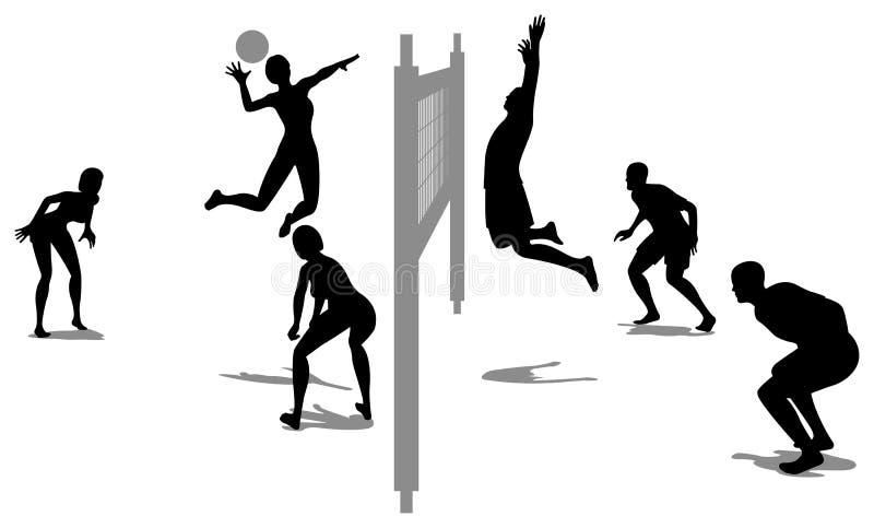 Vettore 3 della siluetta del gioco di pallavolo illustrazione di stock