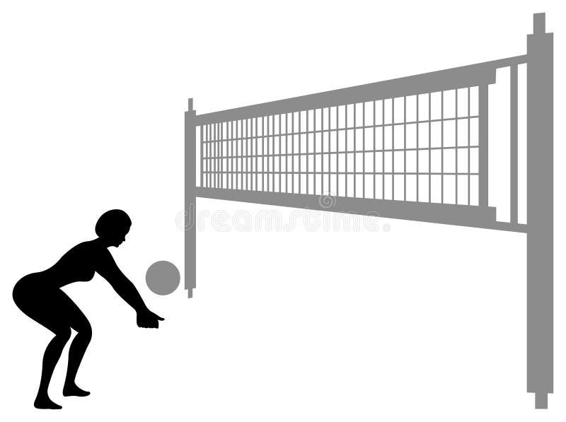 Vettore 3 della siluetta della donna di pallavolo royalty illustrazione gratis
