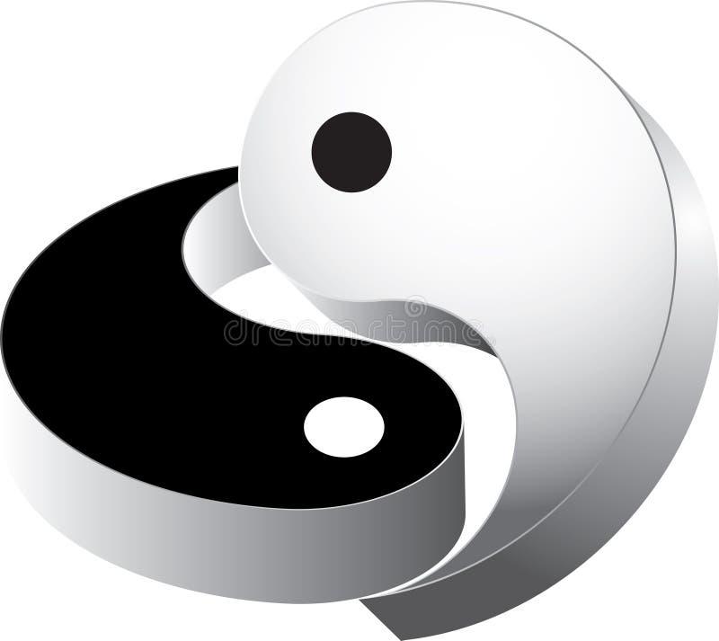 vettore 3d che ying yang immagine stock