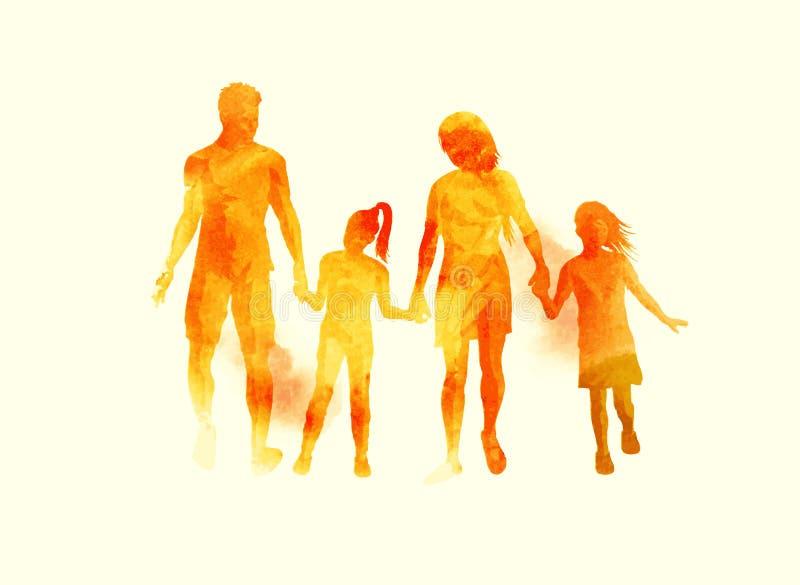 Vettore acquerello della giovane famiglia felice illustrazione di stock