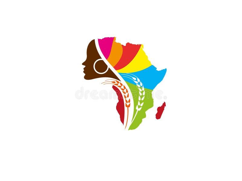 Vettore africano di progettazione di logo dell'azienda agricola delle donne illustrazione vettoriale