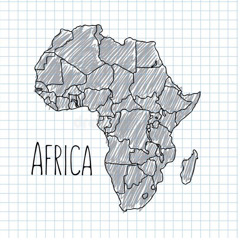 Vettore africano disegnato a mano della mappa della penna su carta royalty illustrazione gratis