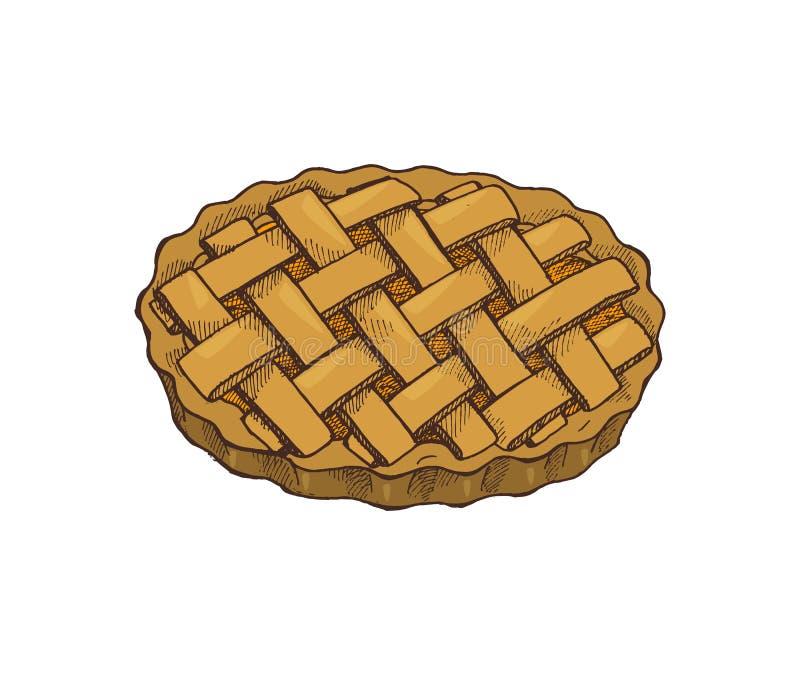 Vettore al forno dell'icona della torta di festa dell'alimento di ringraziamento illustrazione di stock