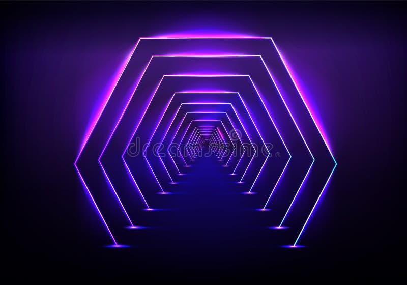 Vettore al neon d'ardore di illuminazione del tunnel futuristico illustrazione vettoriale