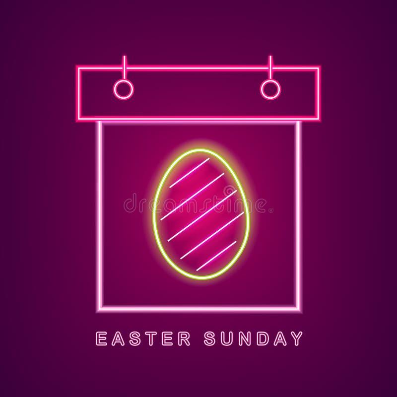 Vettore al neon del calendario dell'uovo di Pasqua Insegna al neon del calendario di Pasqua Insegna stagionale di festa, manifest illustrazione vettoriale
