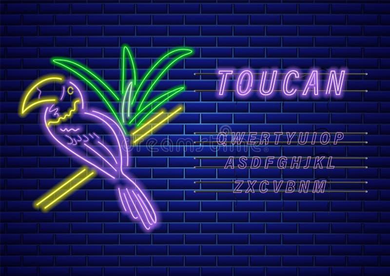 Vettore al neon del tucano Decorazione variopinta brillante d'ardore dell'uccello Testi del modello dell'insegna illustrazione vettoriale
