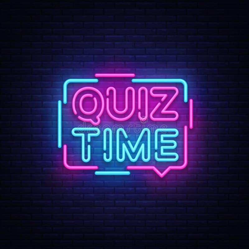 Vettore al neon dell'insegna del manifesto di annuncio di tempo di quiz L'annata di quiz del pub ha disegnato le lettere d'ardore illustrazione vettoriale