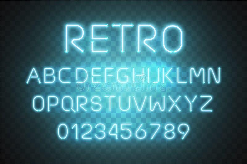 Vettore al neon leggero di alfabeto della fonte Effetto d'ardore del testo Lettere blu del tubo al neon isolate su fondo traspare illustrazione di stock