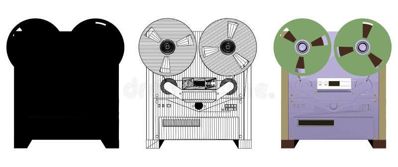 Vettore analogico dell'illustrazione del registratore illustrazione vettoriale