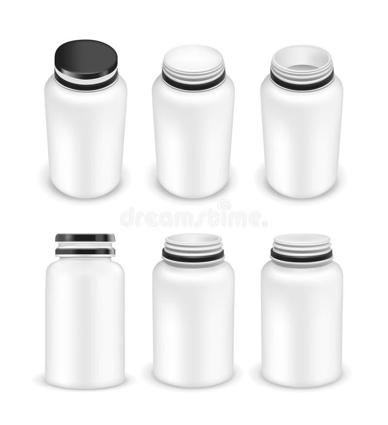 Vettore aperto e bottiglia di plastica chiusa per i multivitaminici o l'erba medica illustrazione vettoriale
