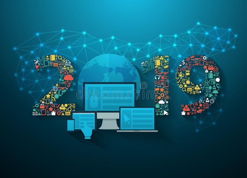 Vettore applicazione stabilita di tecnologia dell'innovazione di affari di 2019 nuovi anni illustrazione di stock