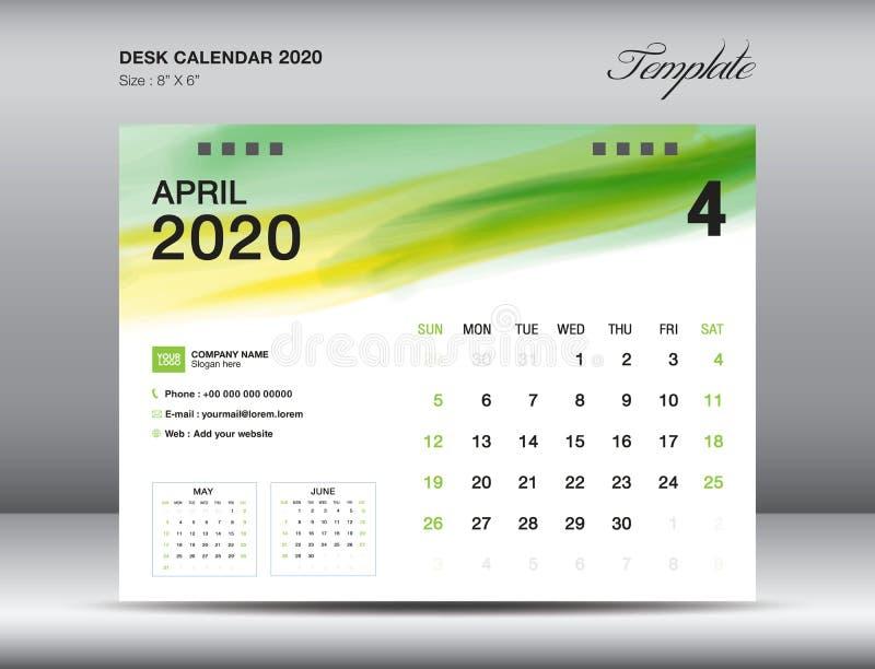 Vettore 2020, APRILE 2020 mese del modello del calendario da scrivania con il colpo verde della spazzola dell'acquerello, disposi royalty illustrazione gratis