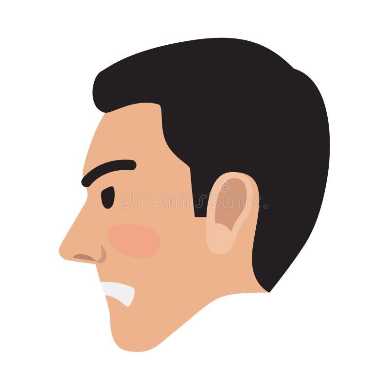 Vettore arrabbiato di vista della testa laterale del Pic dell'utente dell'avatar dell'uomo illustrazione di stock
