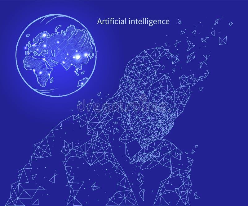 Vettore artificiale del manifesto di intelligenza e di tecnologia illustrazione vettoriale