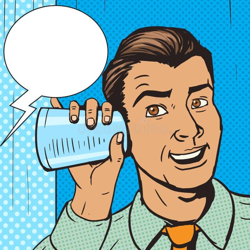 Vettore ascoltante di nascosto di Pop art dell'uomo illustrazione vettoriale