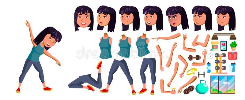Vettore asiatico della ragazza Forma fisica, sport, figura, salute Scolaro Insieme della creazione di animazione Emozioni del fro illustrazione di stock