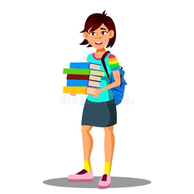 Vettore asiatico sorridente della mano di Holding Books In della studentessa Illustrazione isolata illustrazione vettoriale