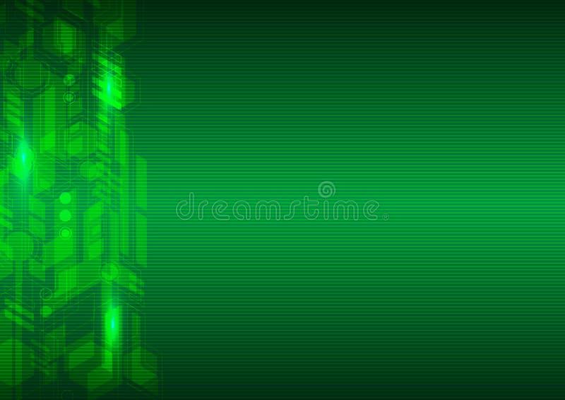 Vettore astratto del fondo ciao di tecnologia verde illustrazione di stock