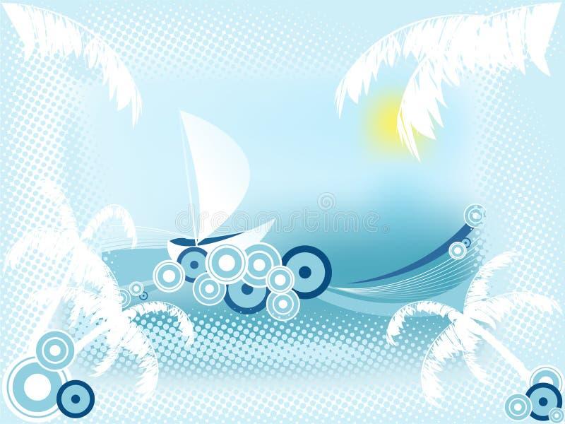 Vettore astratto di estate con il crogiolo di vela illustrazione di stock