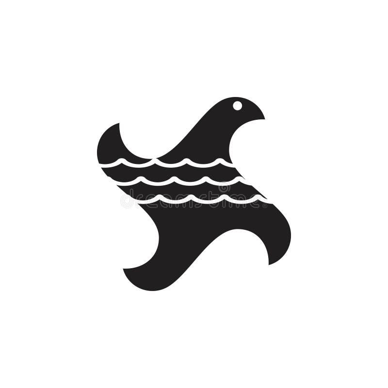 Vettore astratto di lgoo dell'oceano dell'onda dell'aquila illustrazione di stock