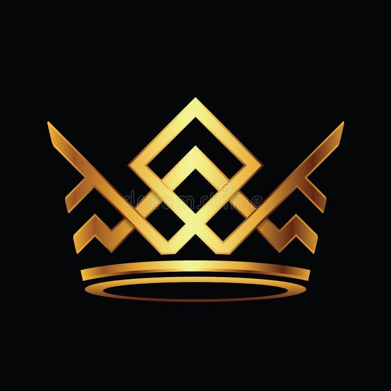 Vettore astratto di logo di Logo Royal King Queen della corona moderna royalty illustrazione gratis