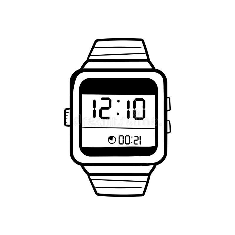 Vettore astuto dell'icona di scarabocchio dell'orologio illustrazione di stock
