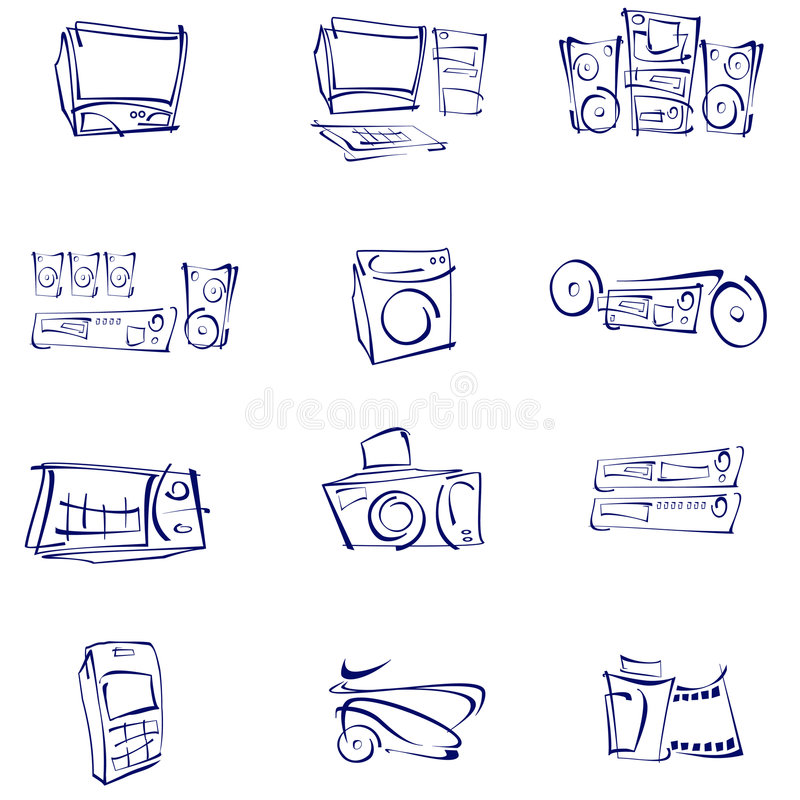 Vettore, audio, video, icone royalty illustrazione gratis