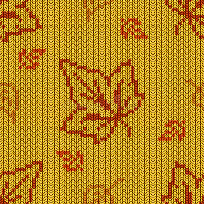 Vettore Autumn Knitted Pattern 2 royalty illustrazione gratis
