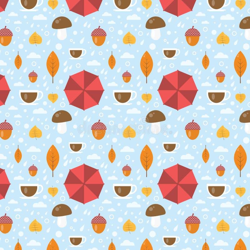 Vettore Autumn Seamless Pattern With Leaf, tazza, ghianda, gocce di pioggia, ombrello Fondo di stile del fumetto illustrazione vettoriale