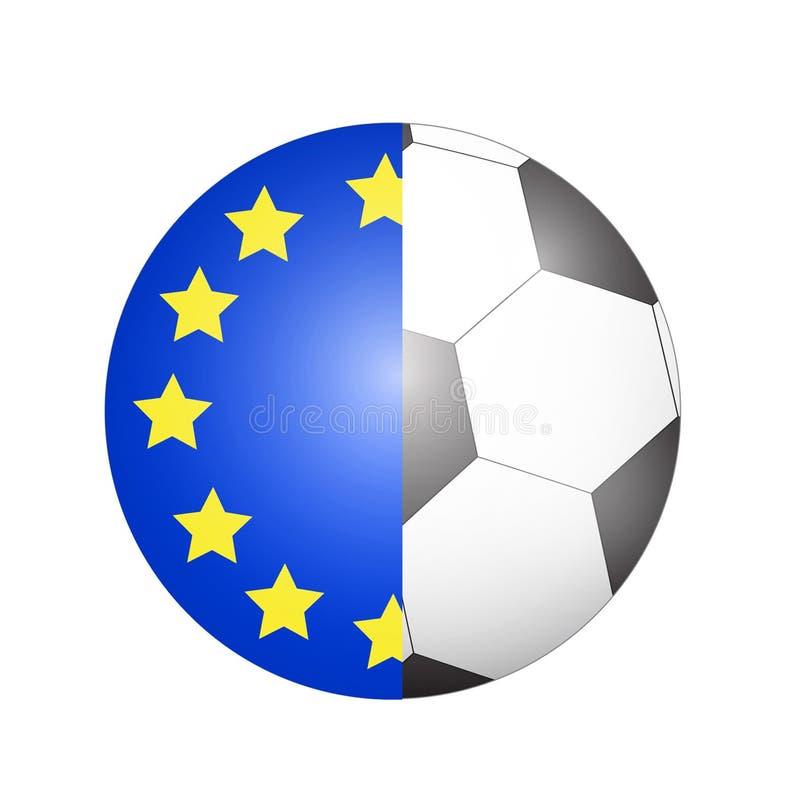Vettore - bandiera di Unione Europea con il fondo del pallone da calcio illustrazione di stock