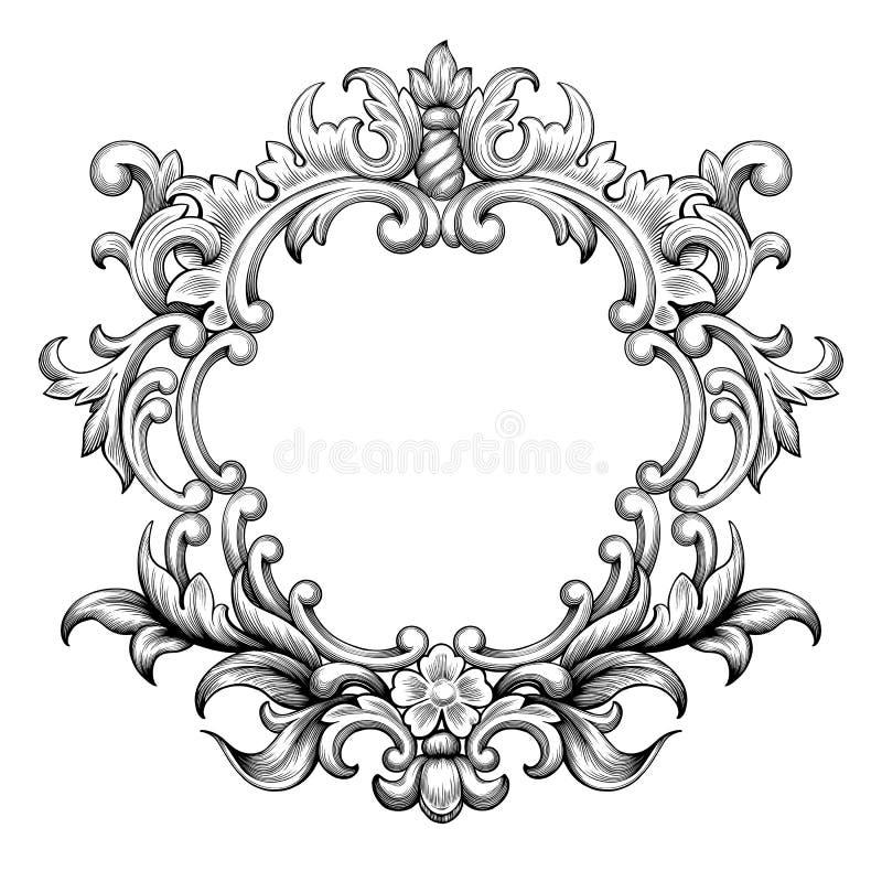 Vettore barrocco d'annata dell'ornamento del rotolo dell'incisione della struttura illustrazione di stock