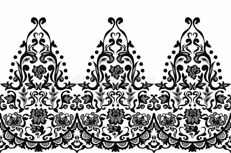 Vettore barrocco senza cuciture elegante del modello del pizzo Progettazione del ricamo illustrazione di stock