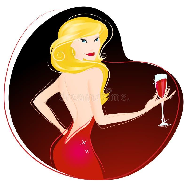 Vettore bevente del vino della donna illustrazione vettoriale