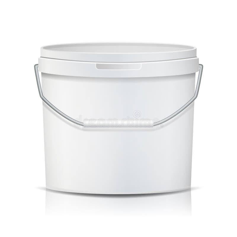 Vettore bianco del secchio Secchio di plastica in bianco della vasca Contenitore per il gelato o il dessert Illustrazione royalty illustrazione gratis